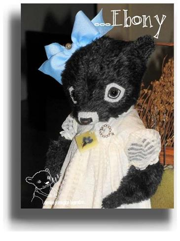 Ebony by Award Winning One Of A Kind Handmade Mohair Teddy Bear Artist Denise Purrington of Out of The Forest Bears