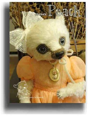 Peach by Award Winning One Of A Kind Handmade Mohair Teddy Bear Artist Denise Purrington of Out of The Forest Bears