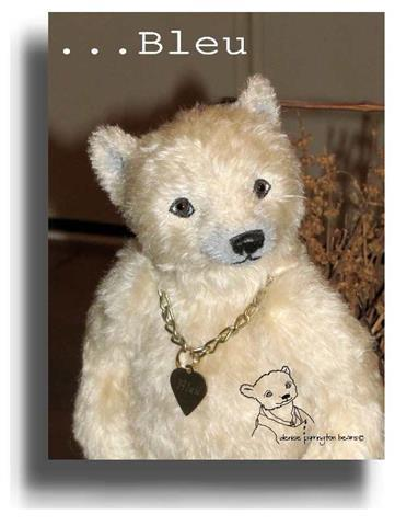 Bleu by Award Winning One Of A Kind Handmade Mohair Teddy Bear Artist Denise Purrington of Out of The Forest Bears