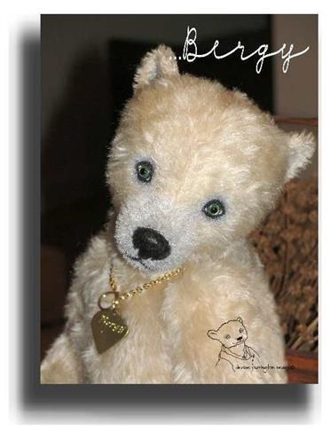 Bergy by Award Winning One Of A Kind Handmade Mohair Teddy Bear Artist Denise Purrington of Out of The Forest Bears