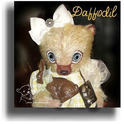 Daffodil by Award Winning One Of A Kind Handmade Mohair Teddy Bear Artist Denise Purrington of Out of The Forest Bears