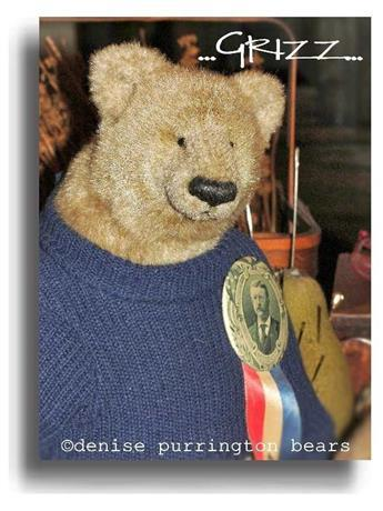 Grizz by Award Winning One Of A Kind Handmade Mohair Teddy Bear Artist Denise Purrington of Out of The Forest Bears