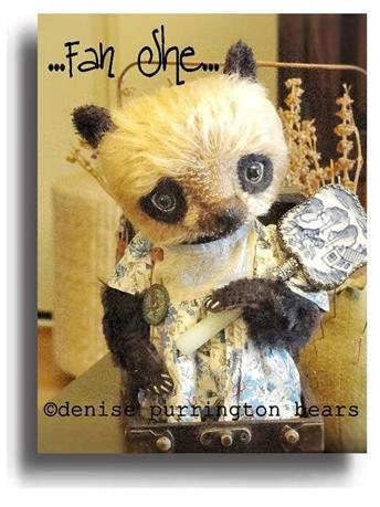 Fan She by Award Winning One Of A Kind Handmade Mohair Teddy Bear Artist Denise Purrington of Out of The Forest Bears