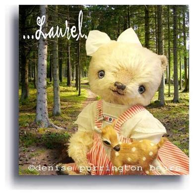 Laurel by Award Winning One Of A Kind Handmade Mohair Teddy Bear Artist Denise Purrington of Out of The Forest Bears