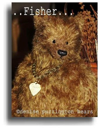 Fisher by Award Winning One Of A Kind Handmade Mohair Teddy Bear Artist Denise Purrington of Out of The Forest Bears