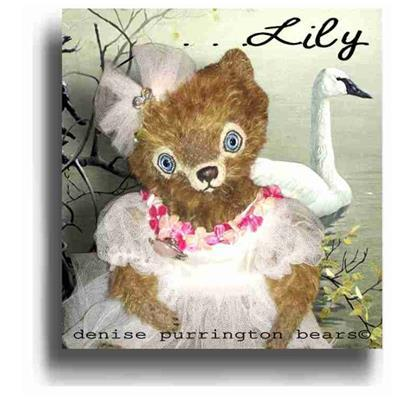 Lily by Award Winning One Of A Kind Handmade Mohair Teddy Bear Artist Denise Purrington of Out of The Forest Bears