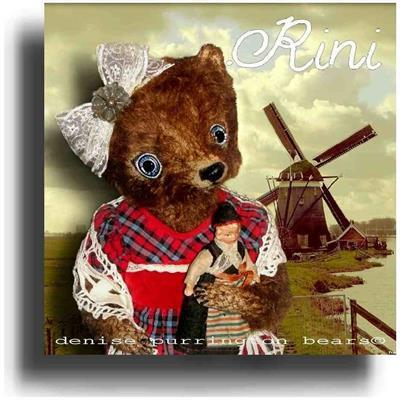 Rini by Award Winning One Of A Kind Handmade Mohair Teddy Bear Artist Denise Purrington of Out of The Forest Bears