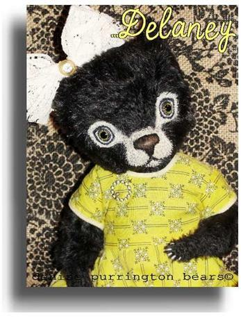 Delaney by Award Winning One Of A Kind Handmade Mohair Teddy Bear Artist Denise Purrington of Out of The Forest Bears