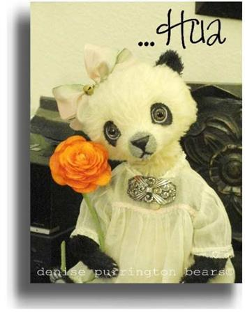Hua by Award Winning One Of A Kind Handmade Mohair Teddy Bear Artist Denise Purrington of Out of The Forest Bears