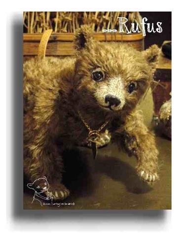 Rufus by Award Winning One Of A Kind Handmade Mohair Teddy Bear Artist Denise Purrington of Out of The Forest Bears