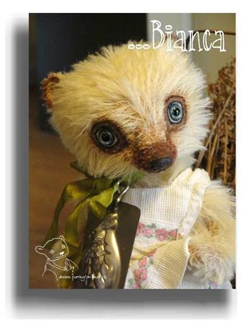 Bianca by Award Winning One Of A Kind Handmade Mohair Teddy Bear Artist Denise Purrington of Out of The Forest Bears